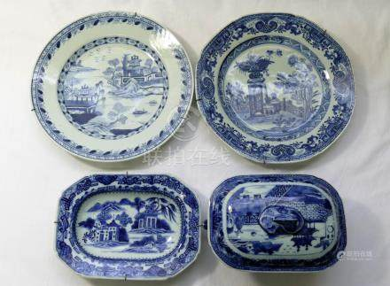 Four pieces of Chinese 18th century blue and white porcelain,