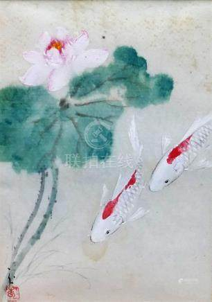 Cheng Yan, (21st Century Japanese artist working in the UK), carp beneath a lily, watercolour,