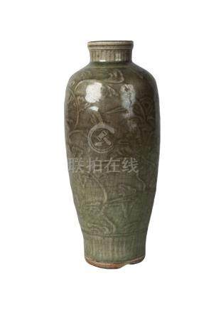 A Chinese Longquan grey stoneware celadon glazed vase, Ming dynasty, 16th century, of ovoid form,
