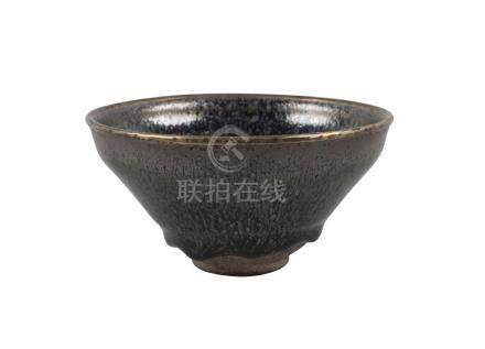 A Chinese yuteki tenmoku 'oil spot' tea bowl, Jian kilns, Fujian province, Song dynasty, the deep
