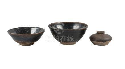 Three pieces of Chinese stoneware, Song dynasty, comprising two black-glazed bowls, 16.5cm and