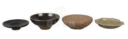 Four pieces of Chinese pottery, Yuan dynasty and later, comprising a Jian tenmoku tea bowl and dish,