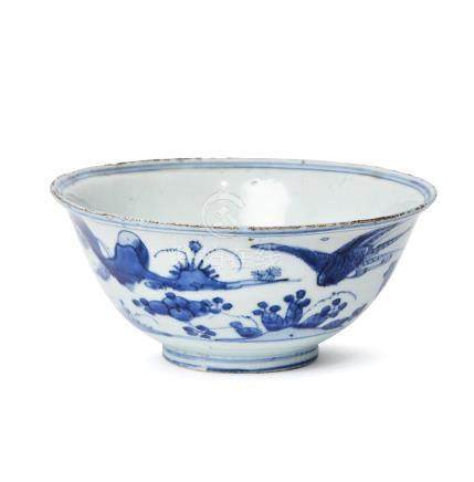 A large Chinese porcelain bowl, Xuande mark, Wanli period, painted in underglaze blue with a