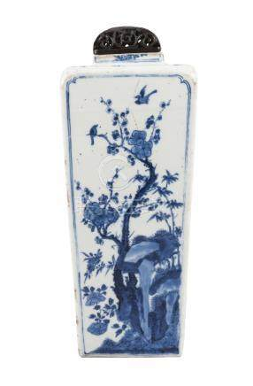 A Chinese porcelain square vase, Kangxi, of shouldered, tapering form, painted in underglaze blue to