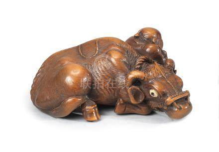 A rare wood netsuke of an oxherd and ox  By Ryuhan, Edo period (1615-1868), late 18th/early 19th century