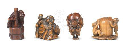 Four wood figure netsuke Edo period (1615-1868), early-mid 19th century (4)