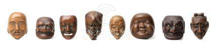 Eight wood mask netsuke Edo period (1615-1868), early-mid 19th century (8)