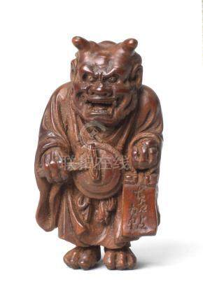 A wood netsuke of Oni Nenbutsu  By Ouchi Sosui (1911-1972), Showa era (1926-1989), 20th century (2)
