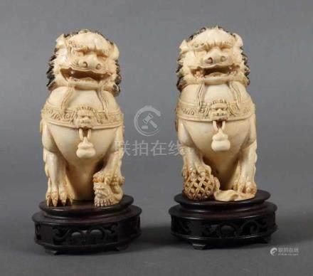 Paar Foo-HundeChina, um 1900, Elfenbein, part. geschwärzt, zwei plastisch geschnitzte Foo