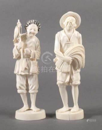 2 Elfenbeinfigurenwohl China, 1920/30er Jahre, Elfenbein, part. geschwärzt, vollplastisch