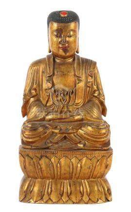 BuddhaChina, 20. Jh., Holz/Lack, in vajrasana sitzender Buddha auf doppeltem Lotussockel, dieH