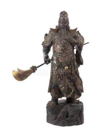 "Lokapala VirudhakaChina oder Japan, 20. Jh., Holz, dunkel gefasst/part. vergoldet, auch """