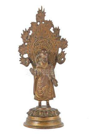 Buddha ShakyamuniChina/Korea, wohl 19. Jh., Bronze, breitbeinig stehender Buddha Shakyamuni (S