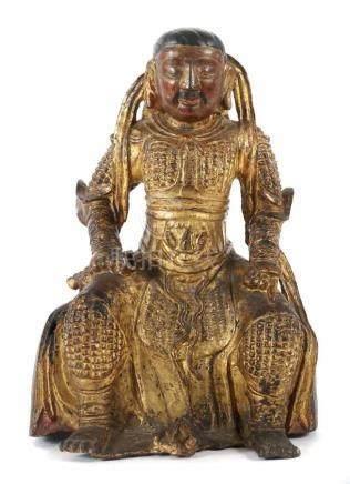 Lokapala VirupakshaChina, wohl 19. Jh., Bronze/vergoldet und part. mit Rot- und Schwarzlack