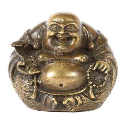 Budai Buddha20. Jh., China, Messing, sitzender Glücksbuddha mit hervorstehendem Bauch, in