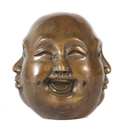 Buddhakopf mit 4 GesichternChina, 20. Jh., Messing, Kopf des Hotei-Buddhas mit 4