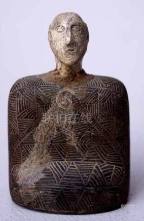 Afghanisches IdolKopf restauriert, Höhe 9cm, Alter unbekannt.