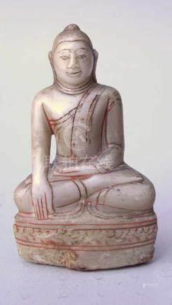 Meditierender Sakyamuni Buddha Alabaster Myanmar, 18./19. Jhd.In Brama-Mudra-Geste, meditierend