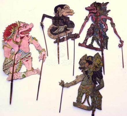 4 hist. Schattenspiel-Figuren, Indonesien, 19.Jhd.Holz mit bemaltem Leder, verschiedene
