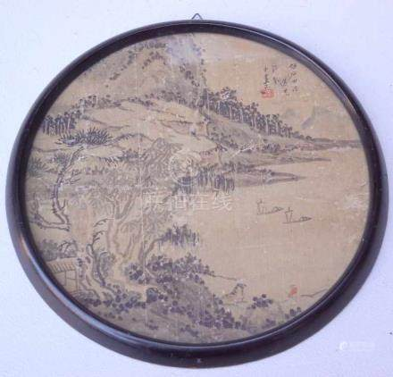 Tuschpinselmalerei auf Seide, China, 19. Jhd.Rundtondo dunkelbraune Tusche auf Seide, rechts oben