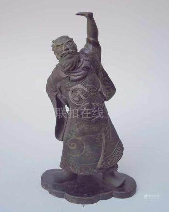 Chinesischer Kriegerdarstellung wohl als Gong 19. Jhd.möglicherweise Darstellung des Generals Gu?n