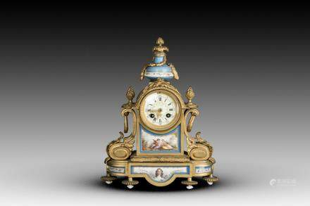 A FRENCH SEVRES BRONZE CLOCK, 19TH CENTURY