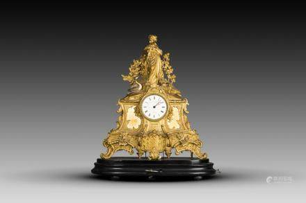 A FRENCH LOUIS XV L. MARTI FIGURAL MANTEL CLOCK