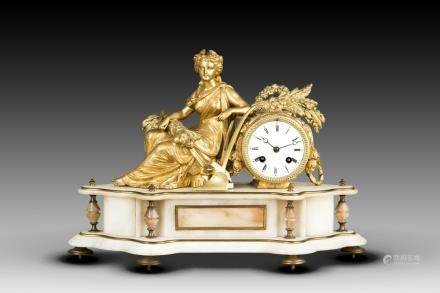 A FRENCH FIGURAL EIGHT DAY CLOCK AFTER BRUCHON, 19TH CENTURY