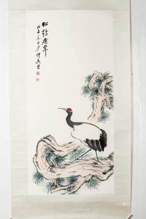 KUANG ZHONGYING (1964-), A CHINESE PAINTING OF PINE AND CRANE
