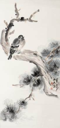 KUANG ZHONGYING (1964-),  A CHINESE PAINTING OF BIRD AND FLOWER
