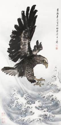 JI KANG (1911-2007), A CHINESE PAINTING OF EAGLE