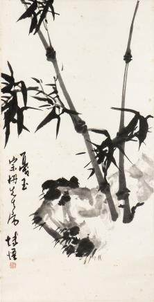 REN BOWU, A CHINESE PAINTING OF INK BAMBOO