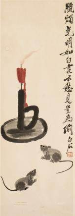 QI BAISHI (1864-1957), A CHINESE PAINTING OF MICE AND CANDLESTICK