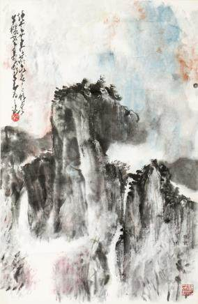 ZHAO SHAO'ANG (1905-0998) AND OTHER, A CHINESE PAINTING OF LANDSCAPE