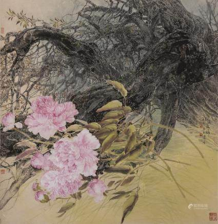 FENG LINZHANG (1943 - ),A CHINESE PAINING OF PEONY