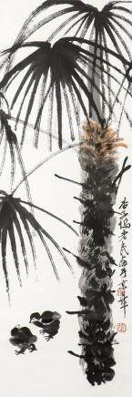 QI BAISHI (ATTRIBUTED TO, 1864-1957), A CHINESE PAINTING OF TREE AND CHICKEN