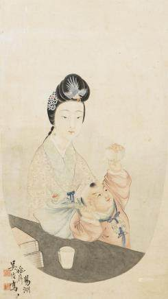 WU GAN (1827-?), A CHINESE PAINTING OF BEAUTY