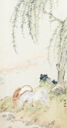WU HUFAN (1894-1968), A CHINESE PAINTING OF TWO HORSES