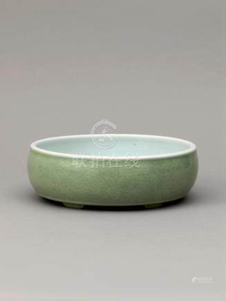 清乾隆 豆青釉暗刻缠枝花卉纹洗 A PALE GREEN GLAZED BRUSH WASHER QING DYNASTY, QIANLONG PERIOD (1736-1795)