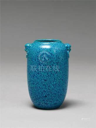 清乾隆 炉钧釉兽首灯笼瓶 A ROBIN'S EGG-GLAZED LANTERN VASE WITH MYTHICAL BEAST HANDLES QIANLONG PERIOD, QING DYNASTY