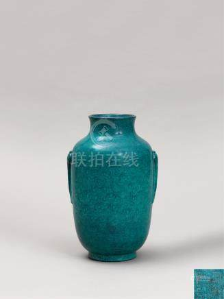 清嘉庆 炉钧釉灯笼瓶 A ROBIN'S EGG GLAZED LANTERN VASE QING DYNASTY, JIAQING MARK AND OF THE PERIOD (1796-1820)