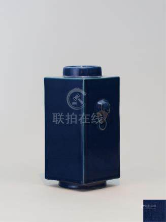 清乾隆 霁蓝釉象耳琮式瓶 A BLUE-GLAZED SQUARE-FORM VASE QIANLONG SEAL MARK AND OF THE PERIOD