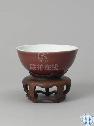 清雍正  霁红釉卧足碗 A COPPER RED BOWL QING DYNASTY, MARK AND OF PERIOD OF YONGZHENG