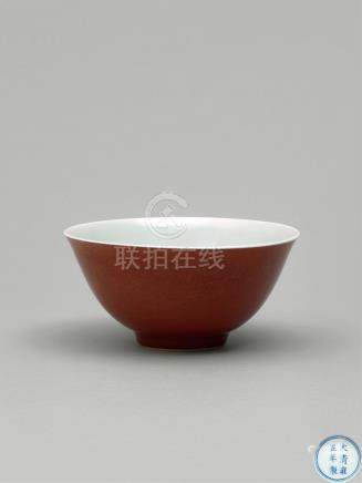 清雍正  豇豆红碗 A PEACH-BLOOM-GLAZED BOWL QING DYNASTY, YONGZHENG SIX-CHARACTER MARK AND OF THE PERIOD