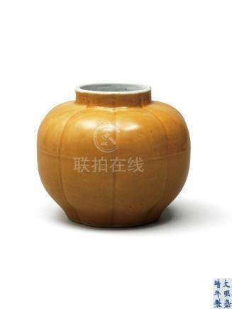 明嘉靖 米黄釉瓜棱罐 A 'CAFE-AU-LAIT' GLAZED JAR MING DYNASTY, JIAJING SIX-CHARACTER MARK AND OF THE PERIOD