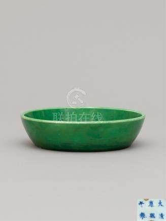 清康熙 瓜皮绿釉笔洗 AN APPLE-GREEN GLAZED BRUSHWASHER QING DYNASTY, KANGXI MARK AND OF THE PERIOD