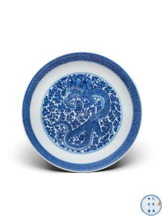 清康熙  青花云龙捧寿盘 A BLUE AND WHITE DRAGON PLATE QING DYNASTY, KANGXI MARK AND OF THE PERIOD
