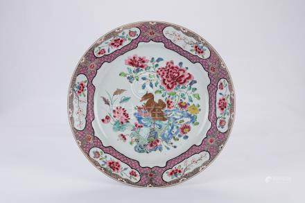Chinese famille rose porcelain charger.