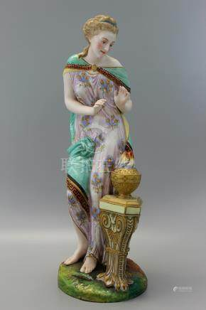 A Very Rare Antique Jean Gille (French 1845) porcelain figure of a lady warming her hands