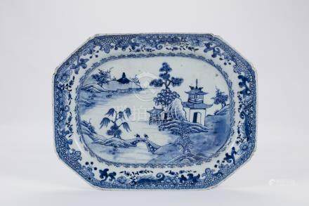 Chinese blue and white porcelain plate.